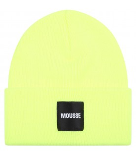 Neon yellow hat for kids with logo