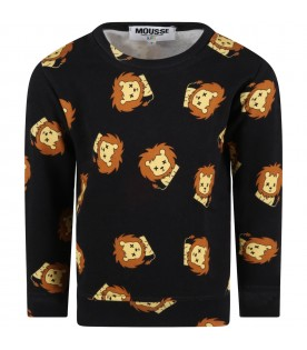 Black sweatshirt for kids with lions