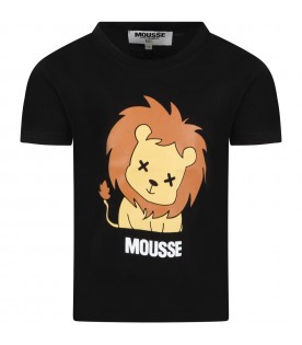 Black t-shirt for kids with lion