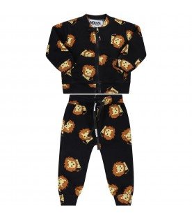 Black tracksuit for baby kids with lions