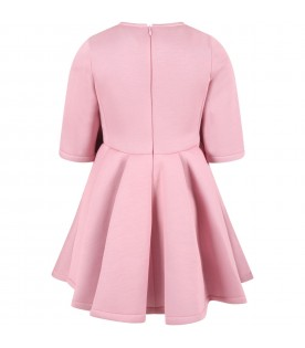 Pink dress for girl with bow