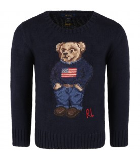 Blue sweater for boy with bear