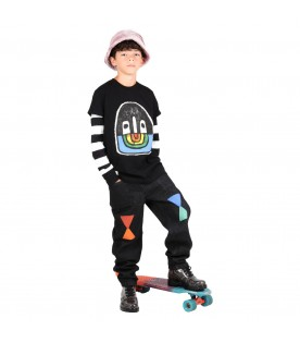 Black jeans for kids with geometric designs
