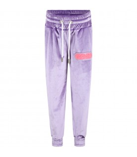 Lilac trouser for girl with logo