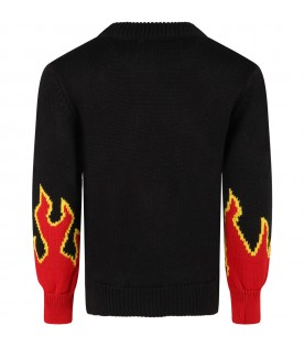 Black sweater for boy with logo