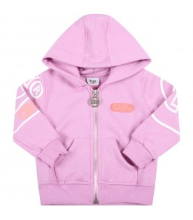 Lilac tracksuit for baby girl with logo