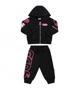 Black tracksuit for baby girl with logo