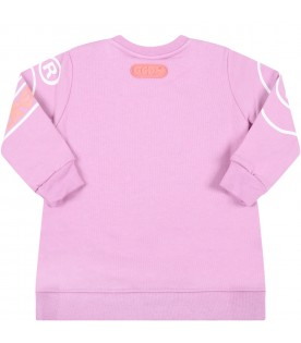 Lilac dress for baby girl with logo