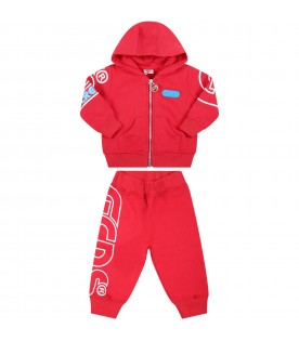 Red tracksuit for baby boy with logo