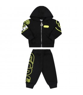Black tracksuit for baby kids with logo