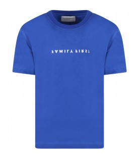 Blue t-shirt for kids with white logo