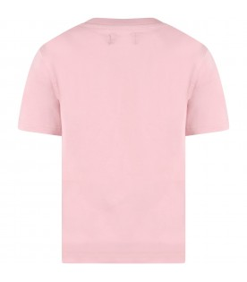 Pink t-shirt for girl with black logo