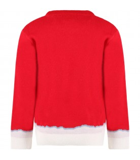 Red sweater for boy with green logo