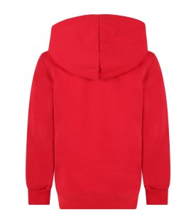Red sweatshirt for kids with green logo