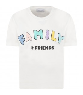 White t-shirt for kids with colorful logo