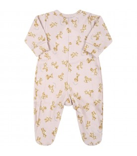 Pink babygrow for baby girl with fawns