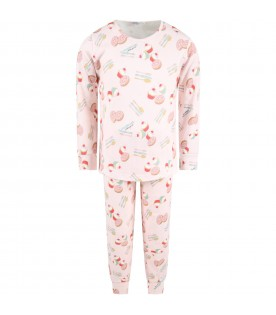 Pink pyjamas for girl with desserts