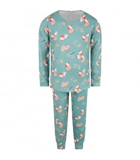 Green pyjamas for kids with desserts