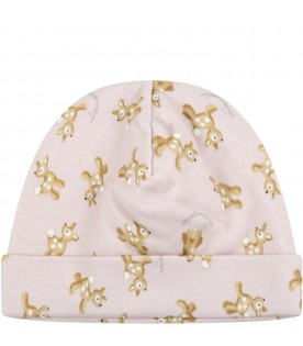 Pink hat for baby girl with fawns