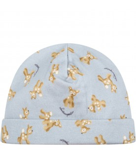 Light blue hat for baby boy with fawns