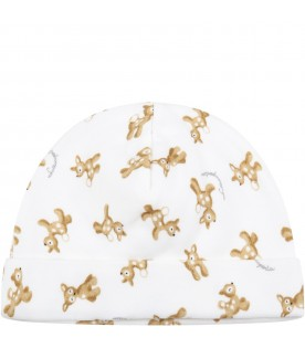 White hat for baby kids with fawns