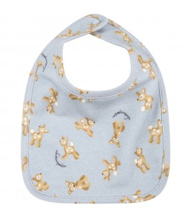 Light blue bib for baby boy with fawns