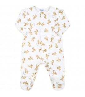 White babygrow for baby boy with fawns