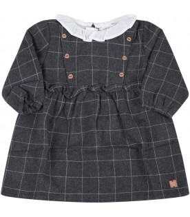 Grey dress for baby girl with logo