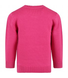 Fuchsia sweater for girl with logo