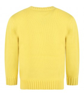Yellow sweater for kids with logo