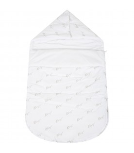 White sleeping bag for baby kids with logos