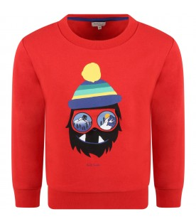 Red sweatshirt for boy with monster