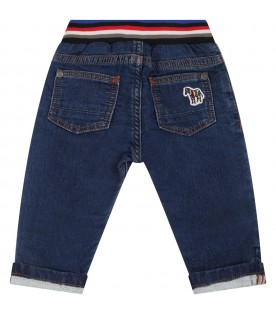 Blue jeans for baby boy with zebra