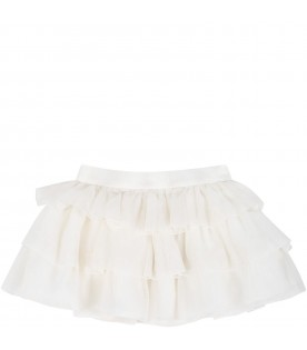 Ivory skirt for baby girl with stripes