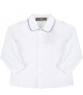 White shirt for baby boy with pleats