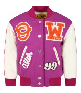 Lilac jacket for kids with logo