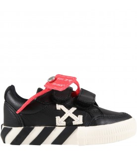 Black sneakers for kids with white arrows