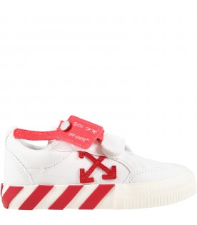 White sneakers for kids with red arrows