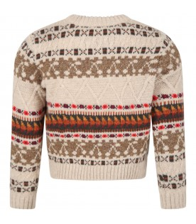 Beige sweater for kids with jacquard motif