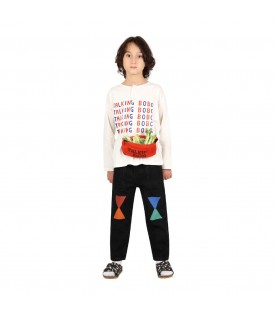 Ivory t-shirt for kids with logos