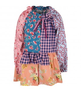 Multicolor dress for girl with flowers and logo