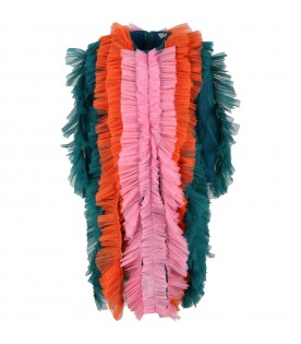 Multicolor dress for girl with tulle ruffles