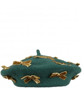Green beret for girl with golden bows