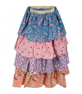 Multicolor skirt for girl with floral print