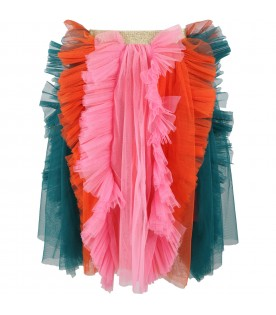 Multicolor skirt for kids with tulle ruffles