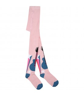 Pink tights for girl with guitar