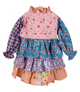 Mutlicolor dress for kids with ruffles