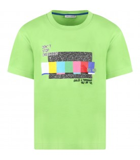 Green T-shirt for kids with writing and logo