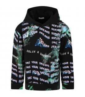 Black sweatshirt for boy with writing and logo