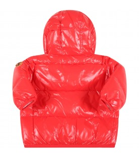 Red jacket for baby boy with iconic patch
